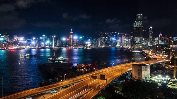 Hong Kong, Harbor, Boats, Water, Night, Long Exposure