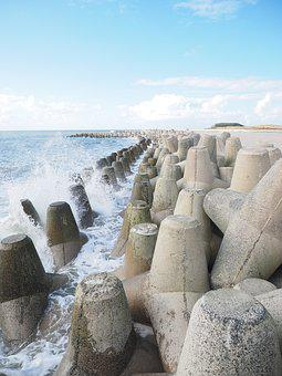Wave, Breakwater, The Beach Fixing, Tetrapods, Concrete