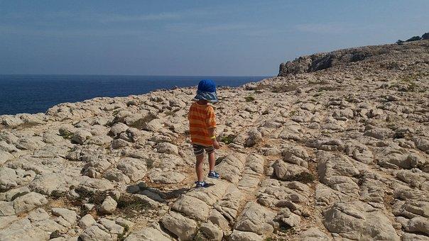 Rock, Hiking, Child, Climb, Holiday, Sea, Blue, Wall