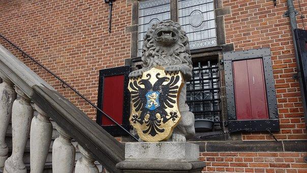 Statue, Lion, Coat Of Arms, Nijmegen