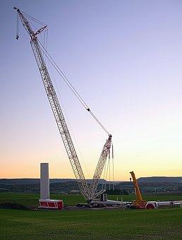 Wind Park, Mega Crane, Site, In The Construction