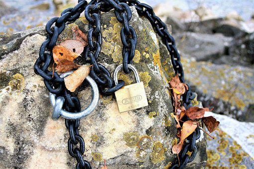 Chain, Closed, By Wlodek, Moss, Rock, Metallic, Old