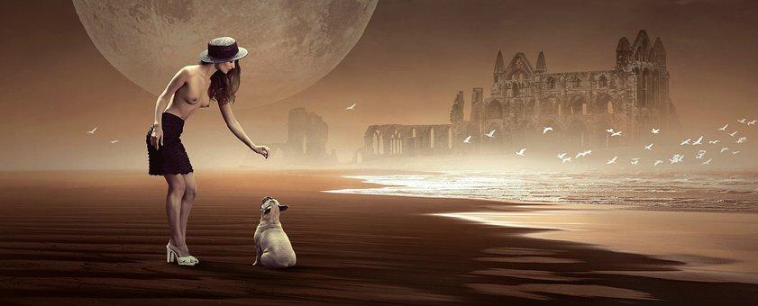 Fantasy, Beach, Woman, Dog, Castle, Ruin, Moon, Sea