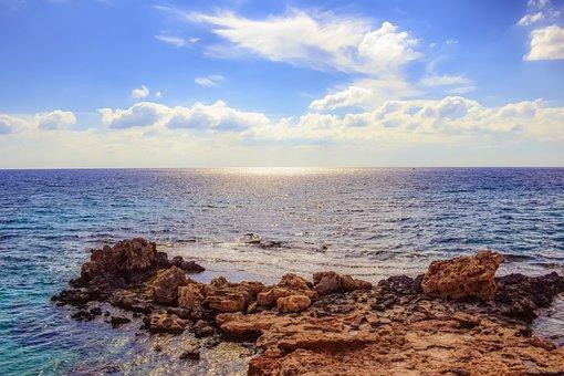 Rocky Coast, Sea, Sky, Clouds, Horizon, Nature