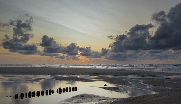 Norderney, East Frisia, Beach, Sunset, North Sea
