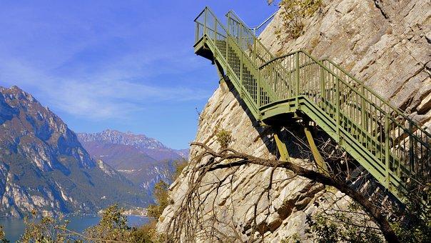 Scale, Sky, Rock, Climb, Mountain, Lake, Staircase