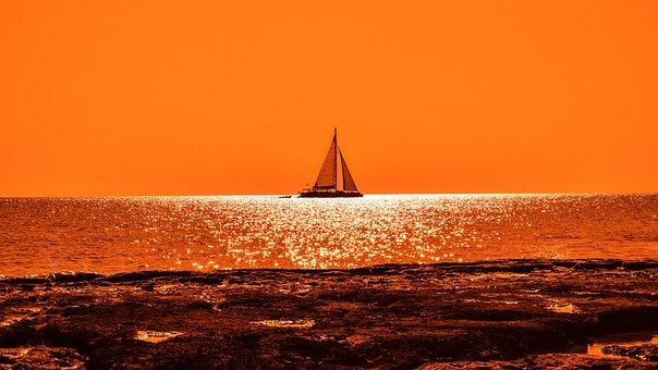Sunset, Sunlight, Boat, Catamaran, Rocky Coast, Orange