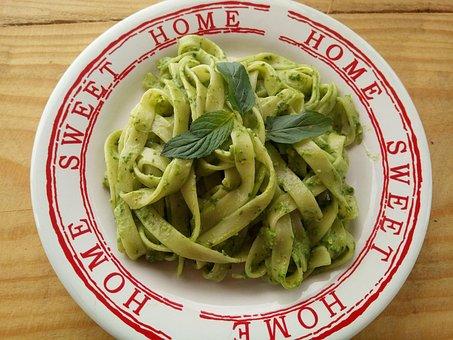 Pasta, Food, Tagliatelle, Pesto, Green, Table