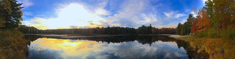 Lake, Sunset, Landscape, Panoramic, Trees, Foliage