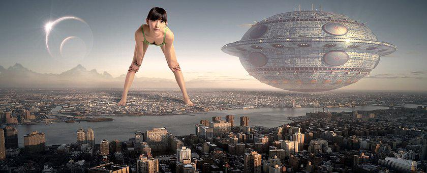 Fantasy, City, River, Woman, Asian Girl, Ufo, Spaceship