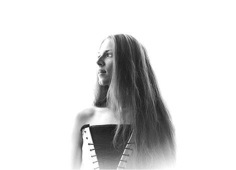 Portrait, Black And White, Woman, Model, White, Black