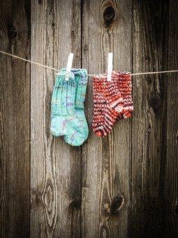 Socks, Baby Socks, Baby, Rope, Leash, Laundry