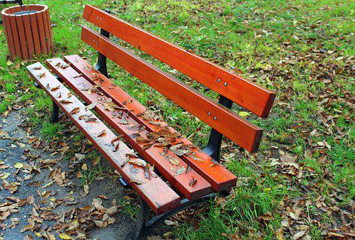 Bench, Park, Autumn, Spacer, Foliage, Holiday, Nature