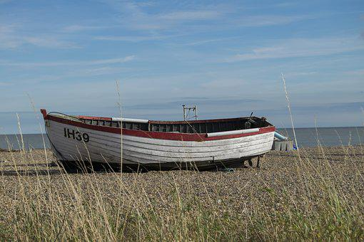 Boat, Aldeburgh, Suffolk, Beach, Fishing, Sky, Beached