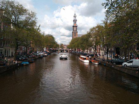 Holland, Amsterdam, Channels, Channel, Light, Clouds