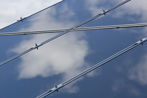 Blue, Solar Panel, Lines, Clouds, Reflection