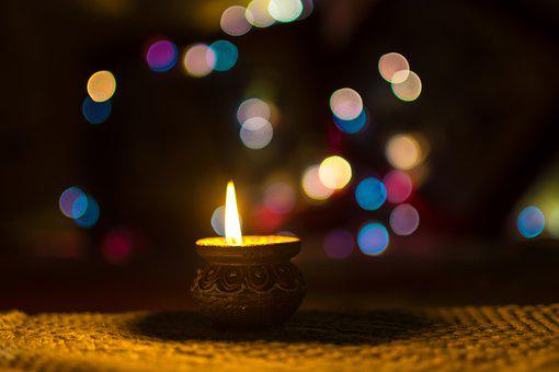 Diwali, Diya, Lamp, India, Clay, Traditional, Bokeh
