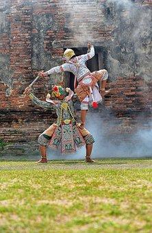 Khon, Ramayana, Siam, Dressed Up, Mask, Show, Puppet