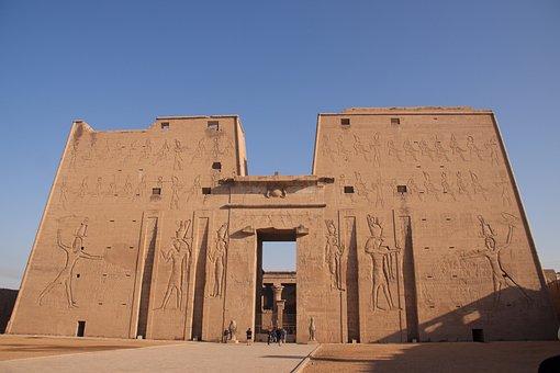 Temple, Egyptian, Entrance, Bastant