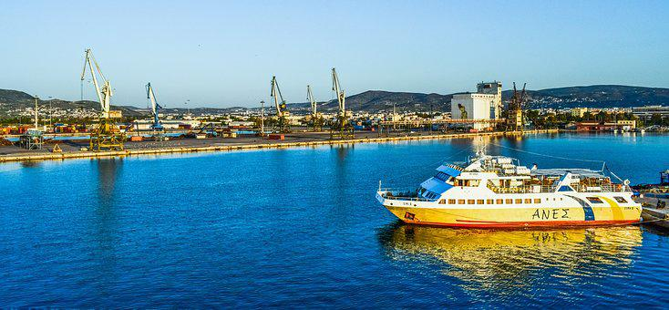 Greece, Volos, Boat, Port, Cranes, Morning, Harbor
