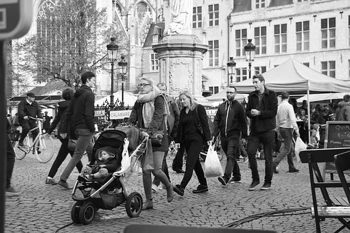 People, Group, Street, Many, Group Together, Monochrome