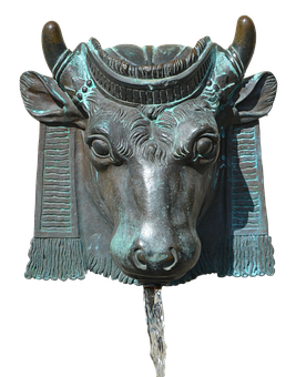 Fountain, Bull, Horns, Enema, Water, Ray, Bronze
