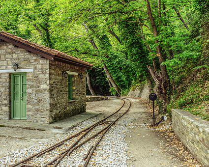 Greece, Magnesia, Milies, Railway Station, Rails