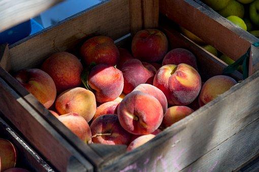 Peaches, Crate, Fruit, Organic, Ripe, Summer, Fresh