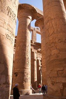 Temple, Egyptian, Gallery, Pillars, Gigantic
