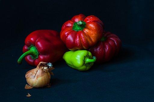Pepper, Onion, Red, Still Life