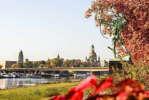Dresden, Autumn, River, Bridge, Architecture, Saxony