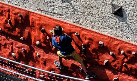 Sport, Free Climbing, Rock Climbing, Child, Suspended