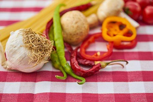 Garlic, Pepper, Tomato, Pasta, Table, Detail, Nobody
