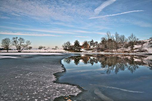 Time Of Year, Winter, Landscape, Lake, Cold, Mirroring