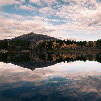 Reflection, Autumn, Water, Sky, Clouds, Hiking