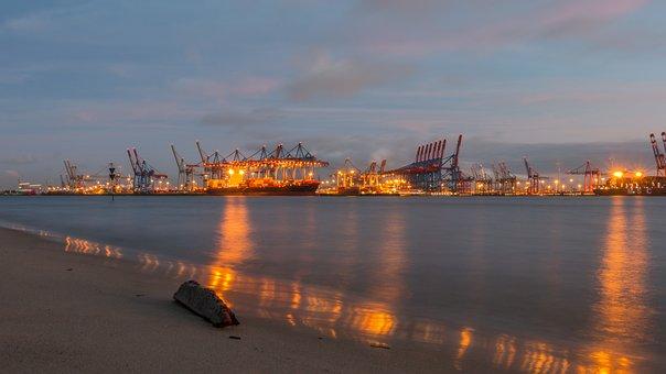 Elbe, Hamburg, Container Ship, Port, Ship, Sunset, Boot