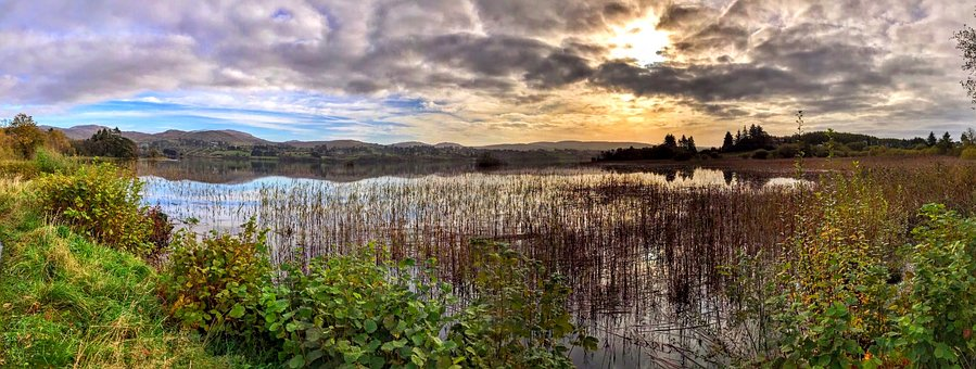 Lake, Clouds, Donegal, Ireland, Lough