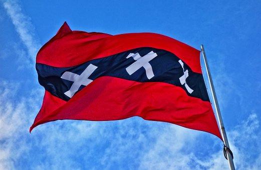 Flag, Banner, Amsterdam, Flag Amsterdam, Red And Black