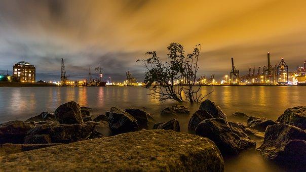 Elbe, Hamburg, Elbe Beach, Lights, Light, Great Light