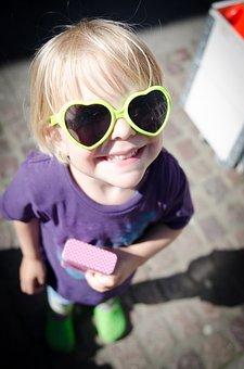 Child, Heart, Sunglasses, Summer, Outdoor, Joy, Fun