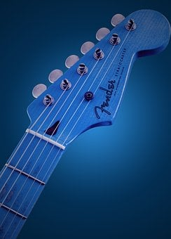 Blue, Guitar, Glowing, Style, Rock, Instrument