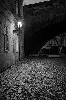 Prague, Night, Old Town, Gloomy, Lantern, Old Building