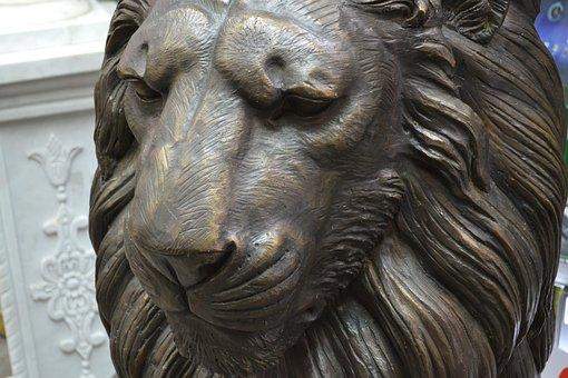 Lion, Statue, Art, Hand Carved, Porcelain, Stone