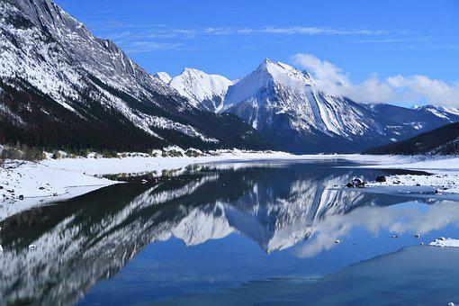 Water Reflection, Panorama, Snow Landscape, Mountains