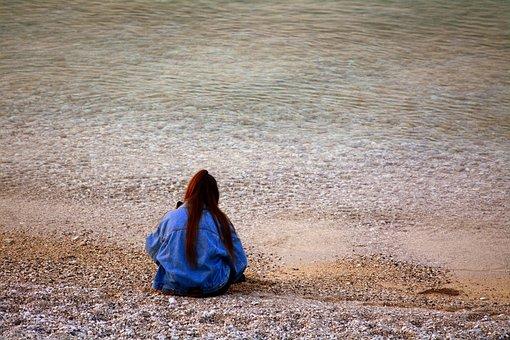 Solitude, Beach, Woman, Rest, Sand, Hats, Sensation