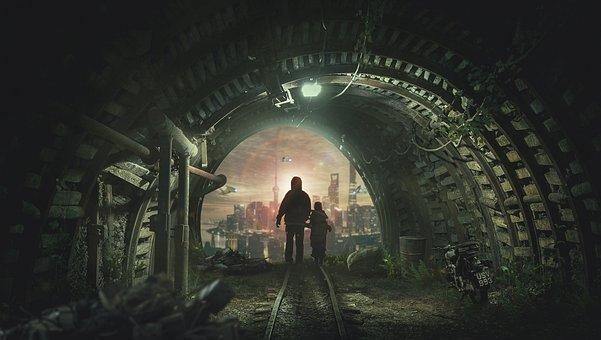 Tunnel, Father Son, Manipulation, People, Boy, Son