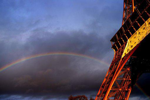Eiffel, Rainbow, Paris, France, Tower, Sky