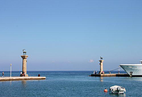 Rhodes, Port, Mandraki, Harbour Entrance, Colossus