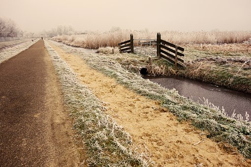 Country Road, Road, Waterway, Fence, Rural, Hoarfrost