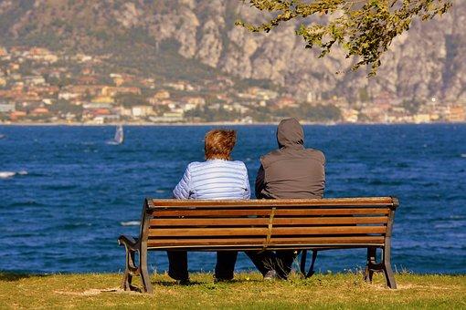 Solitude, Couple, Elderly, Think, Sitting, Mountain